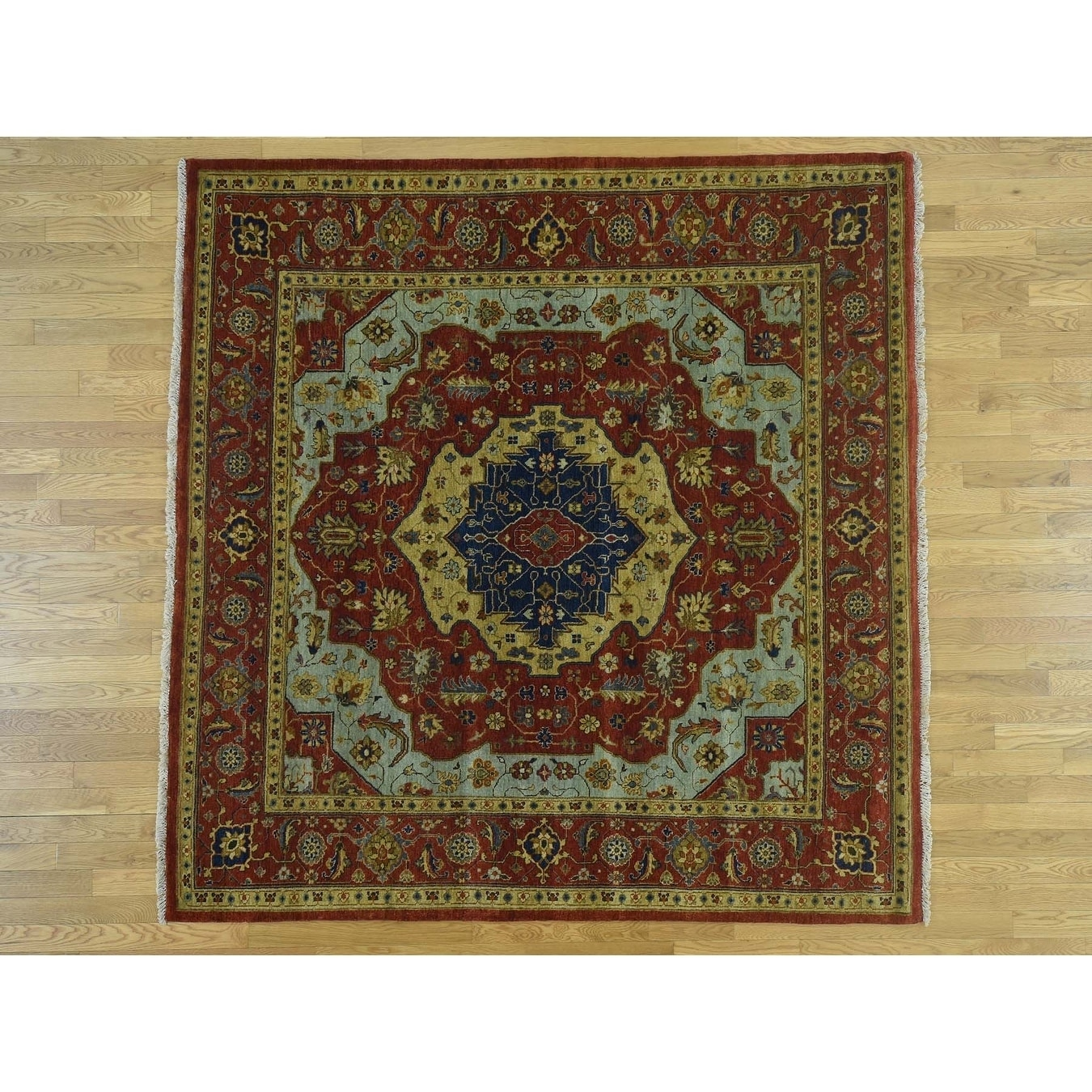 Hand Knotted Red Heriz with Wool Oriental Rug - 6 x 6