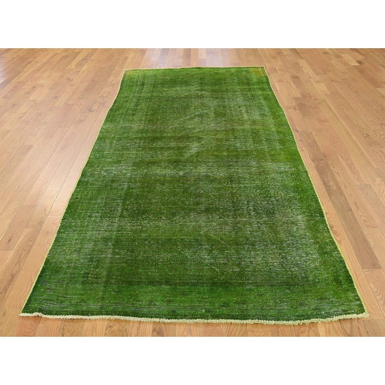 Hand Knotted Green Overdyed & Vintage with Wool Oriental Rug - 43 x 910