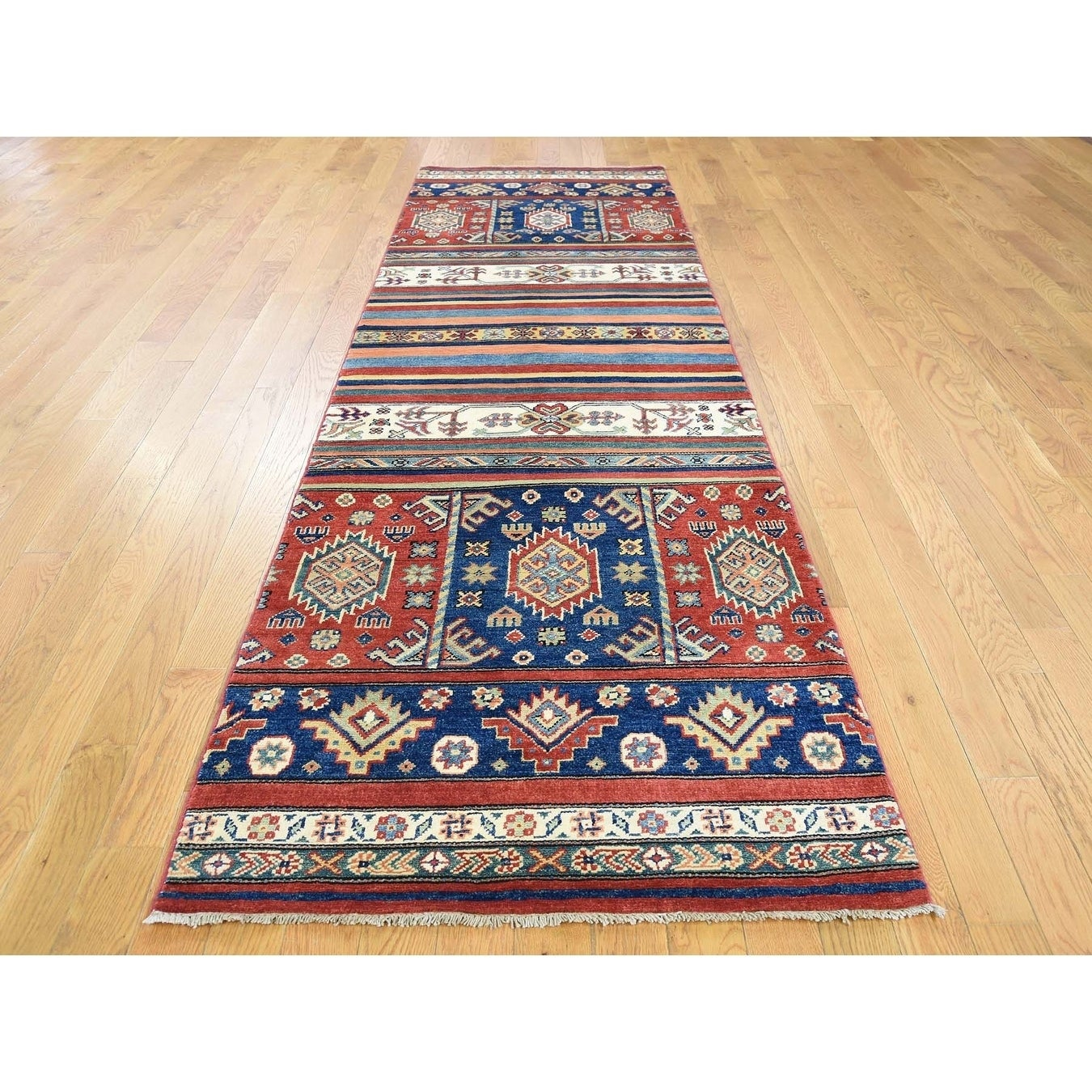 Hand Knotted Multicolored Kazak with Wool Oriental Rug - 210 x 95
