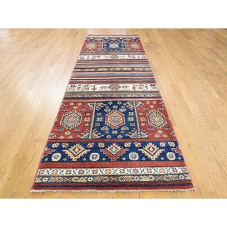 Hand Knotted Multicolored Kazak with Wool Oriental Rug - 2'10 x 9'5
