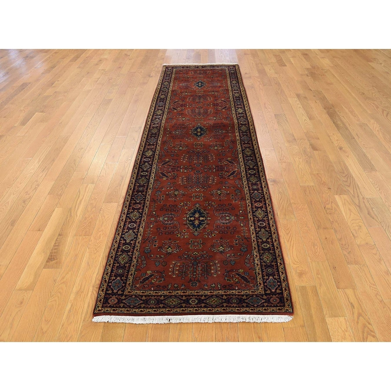 Hand Knotted Red Fine Oriental with New Zealand Wool Oriental Rug - 28 x 10