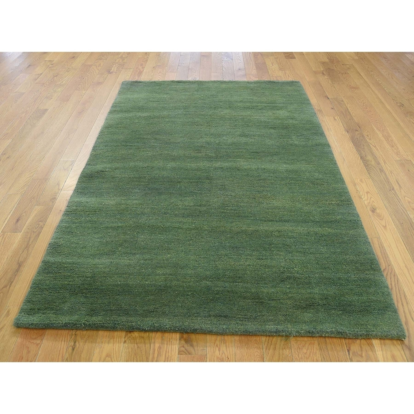 Hand Knotted Green Clearance with Wool Oriental Rug - 4 x 6