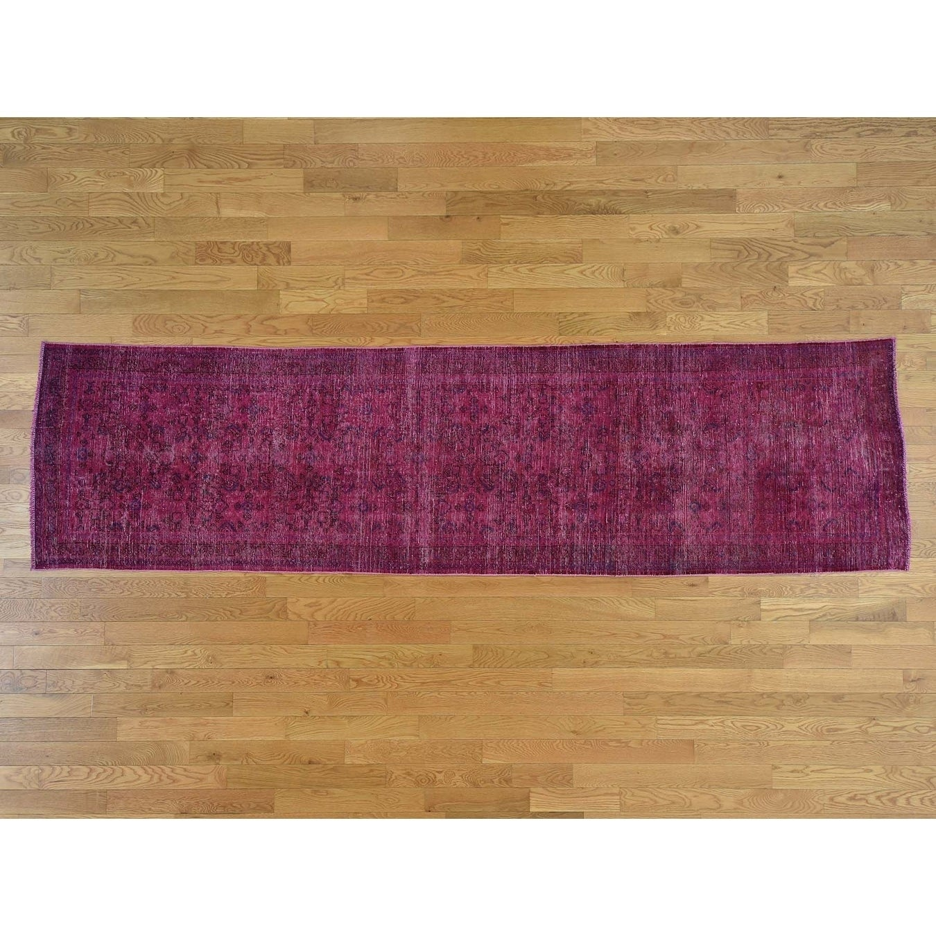Hand Knotted Pink Overdyed & Vintage with Wool Oriental Rug - 34 x 127
