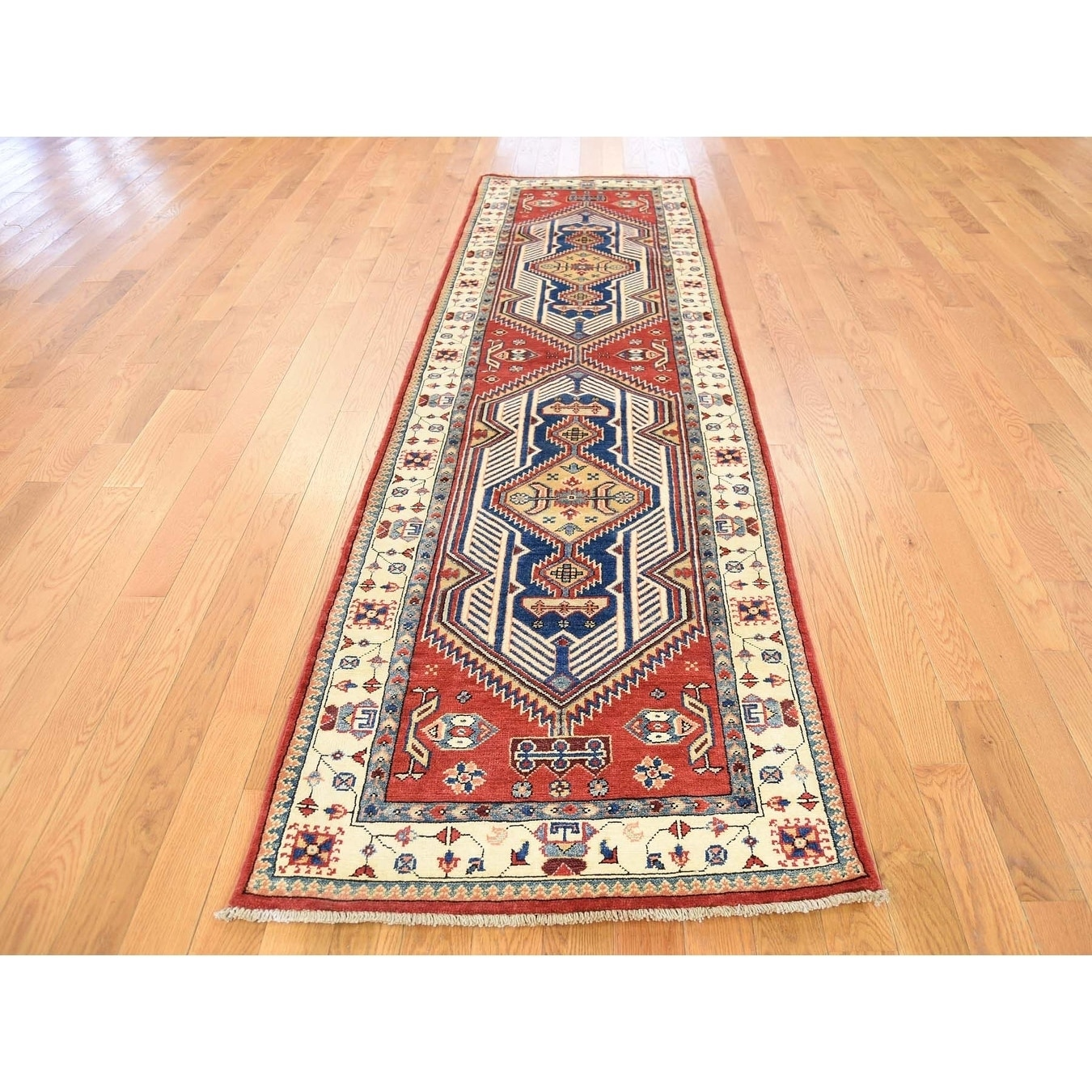 Hand Knotted Red Kazak with Wool Oriental Rug - 27 x 96