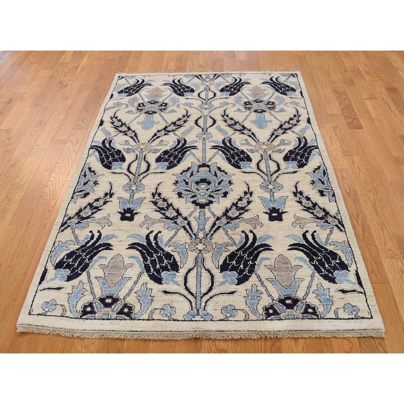 Hand Knotted Ivory Arts And Crafts with Wool Oriental Rug - 4 x 61