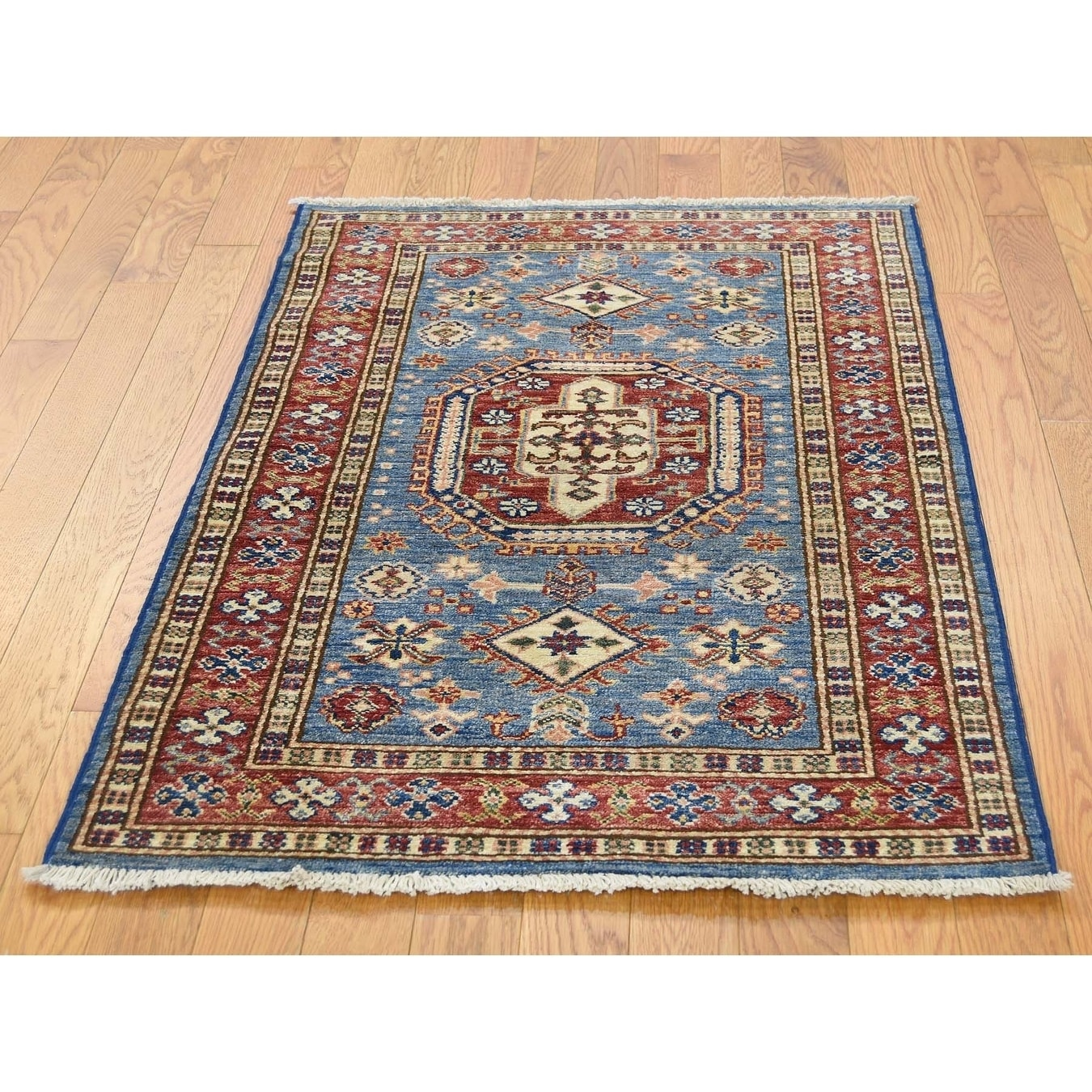 Hand Knotted Blue Kazak with Wool Oriental Rug - 27 x 310