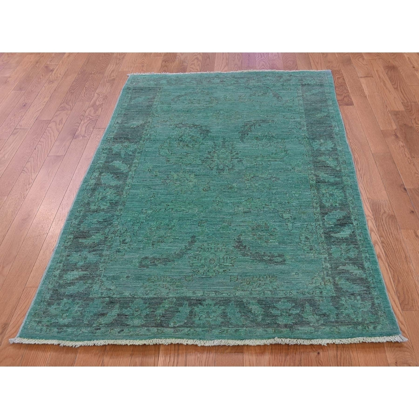 Hand Knotted Teal Overdyed & Vintage with Wool Oriental Rug - 310 x 61