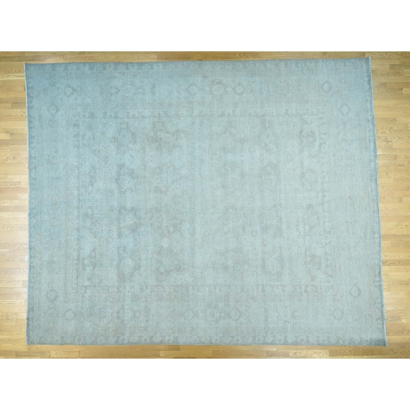 Hand Knotted Blue White Wash Vintage & Silver Wash with Wool Oriental Rug