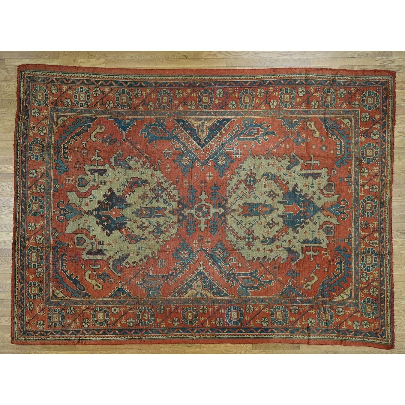 Hand Knotted Red Antique with Wool Oriental Rug - 9 x 125