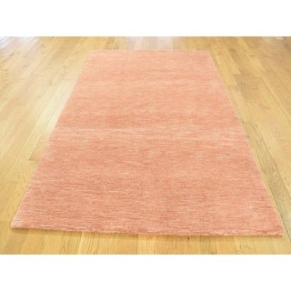 Hand Knotted Orange Clearance with Wool Oriental Rug - 4' x 6'