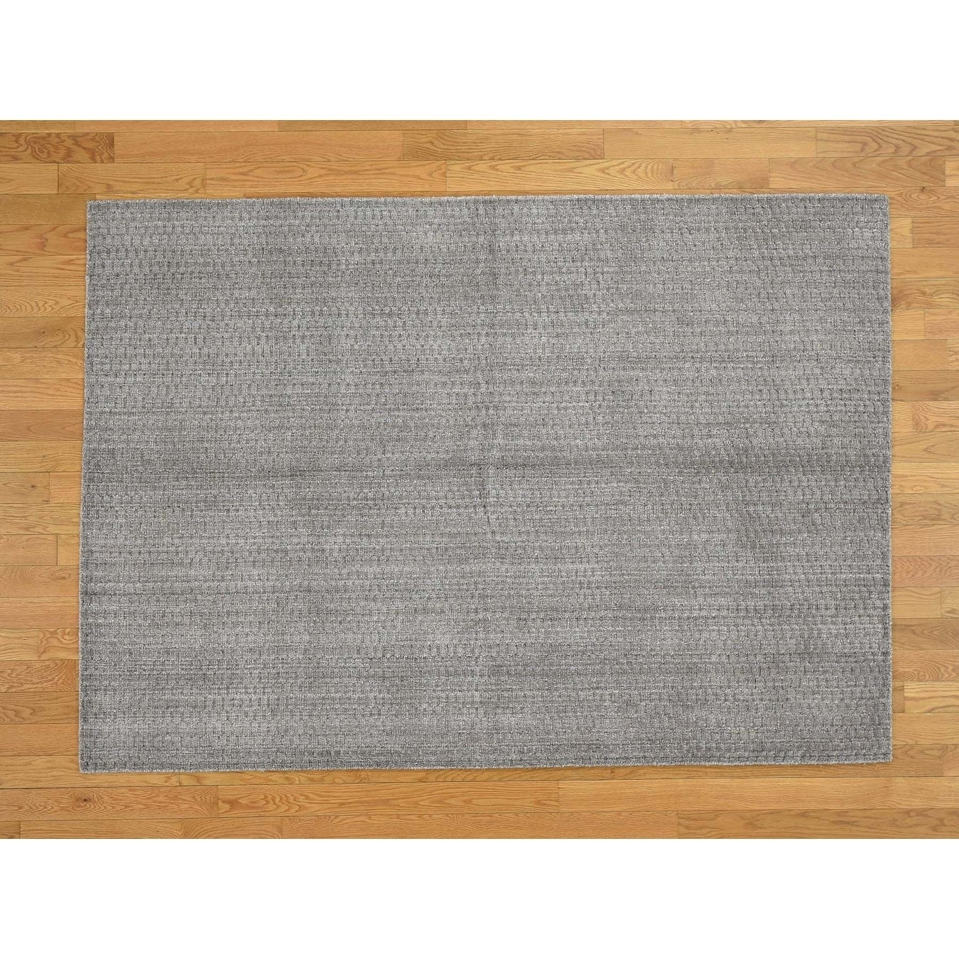 Hand Knotted Grey Modern & Contemporary with Wool Oriental Rug - 5 x 7