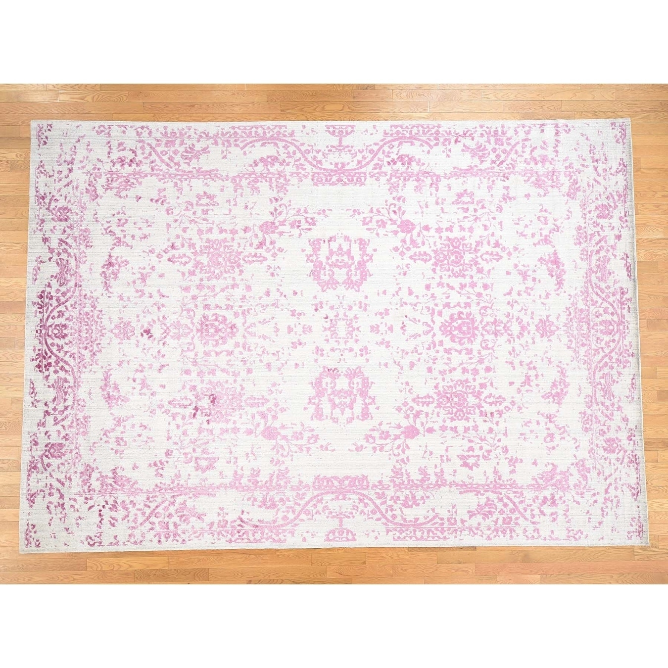 Hand Knotted Pink Modern & Contemporary with Wool & Silk Oriental Rug