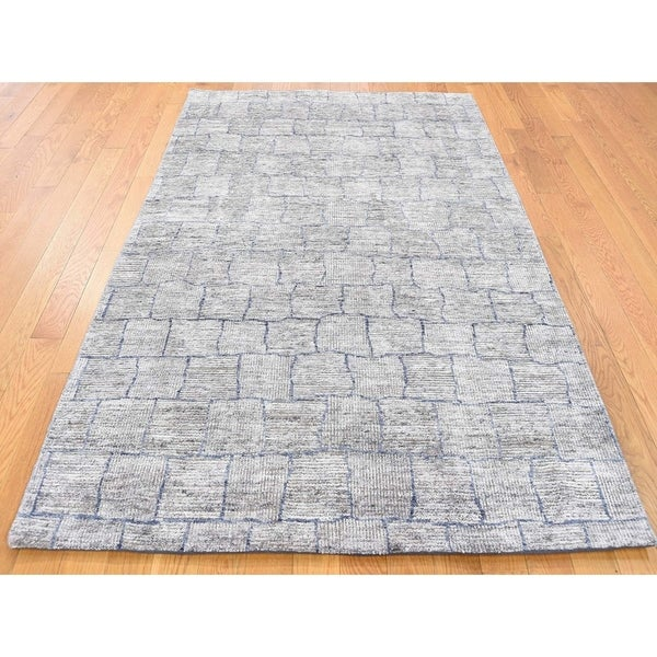 Hand Knotted Grey Modern & Contemporary with Wool Oriental Rug - 3'10 x 6'