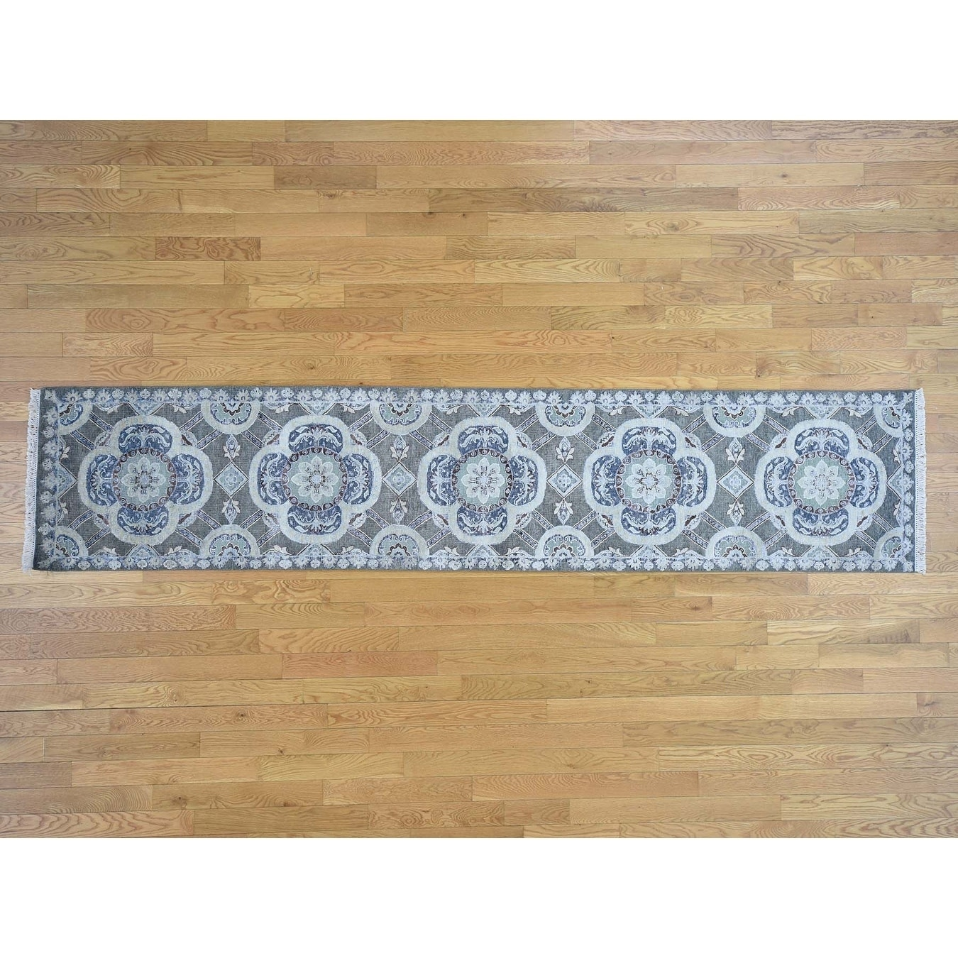 Hand Knotted Green Modern & Contemporary with Wool Oriental Rug