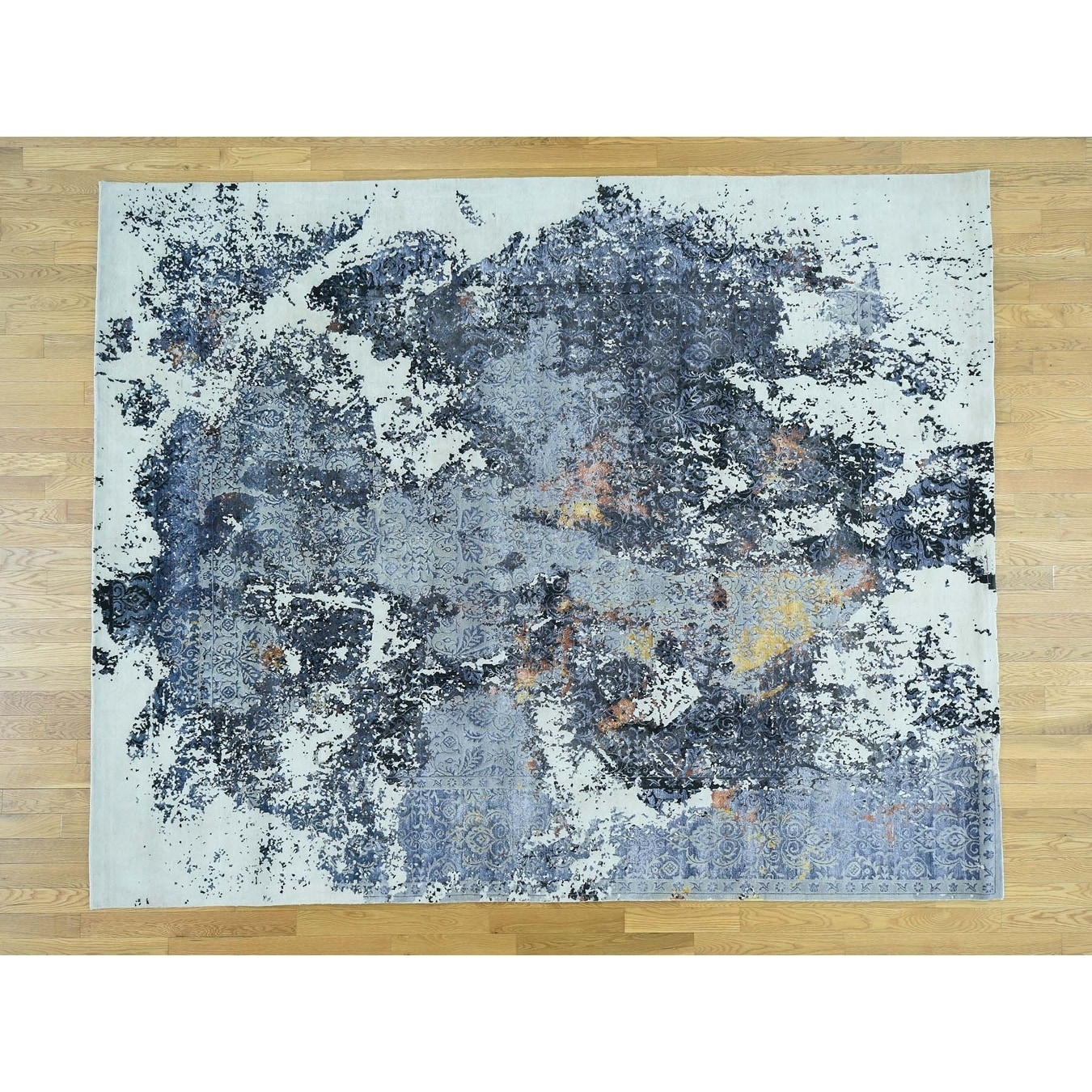 Hand Knotted Blue Modern & Contemporary with Wool & Silk Oriental Rug - 83 x 103