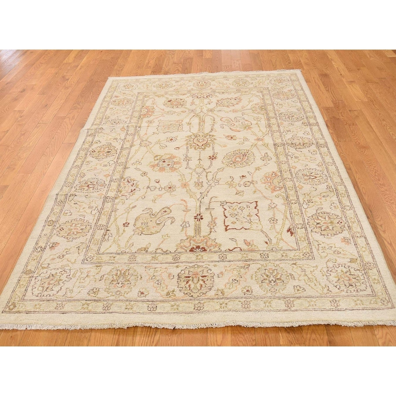 Hand Knotted Beige Oushak And Peshawar with Wool Oriental Rug - 5 x 7