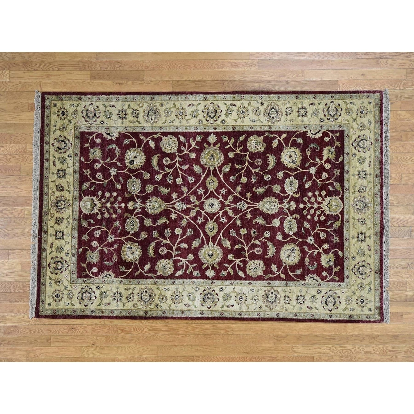 Hand Knotted Red Rajasthan with Wool Oriental Rug - 510 x 810