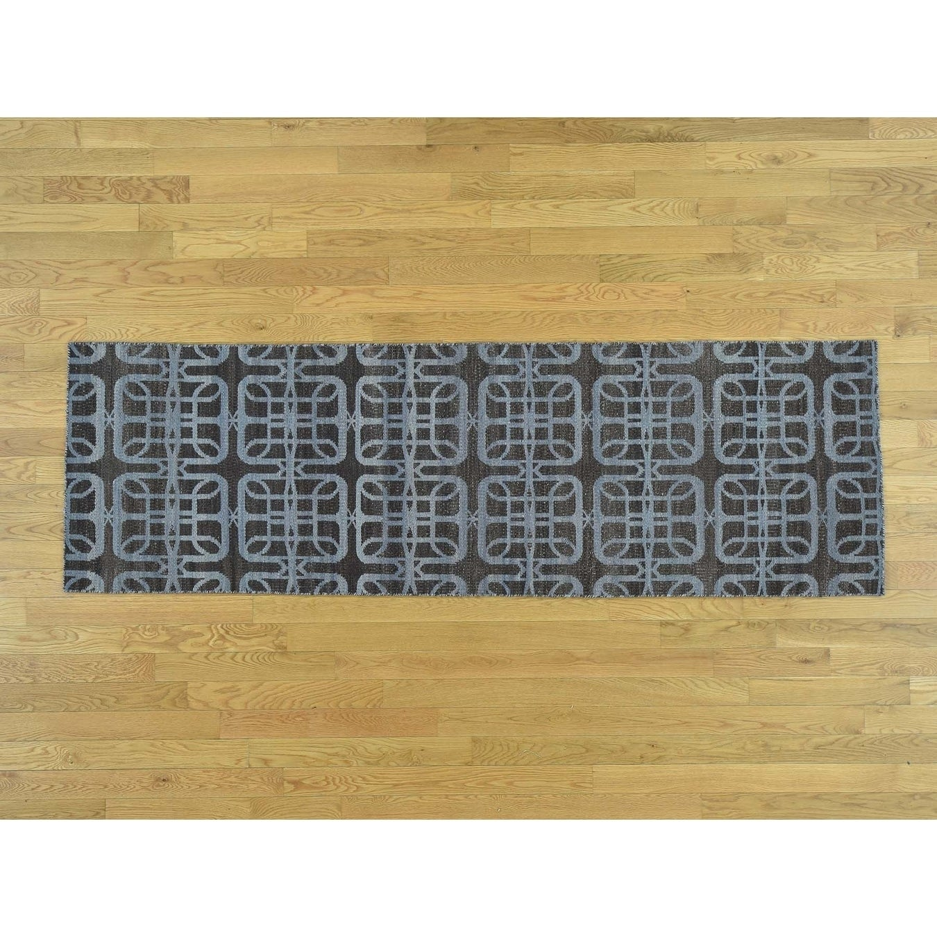 Hand Knotted Brown Flat Weave with Wool Oriental Rug - 26 x 81