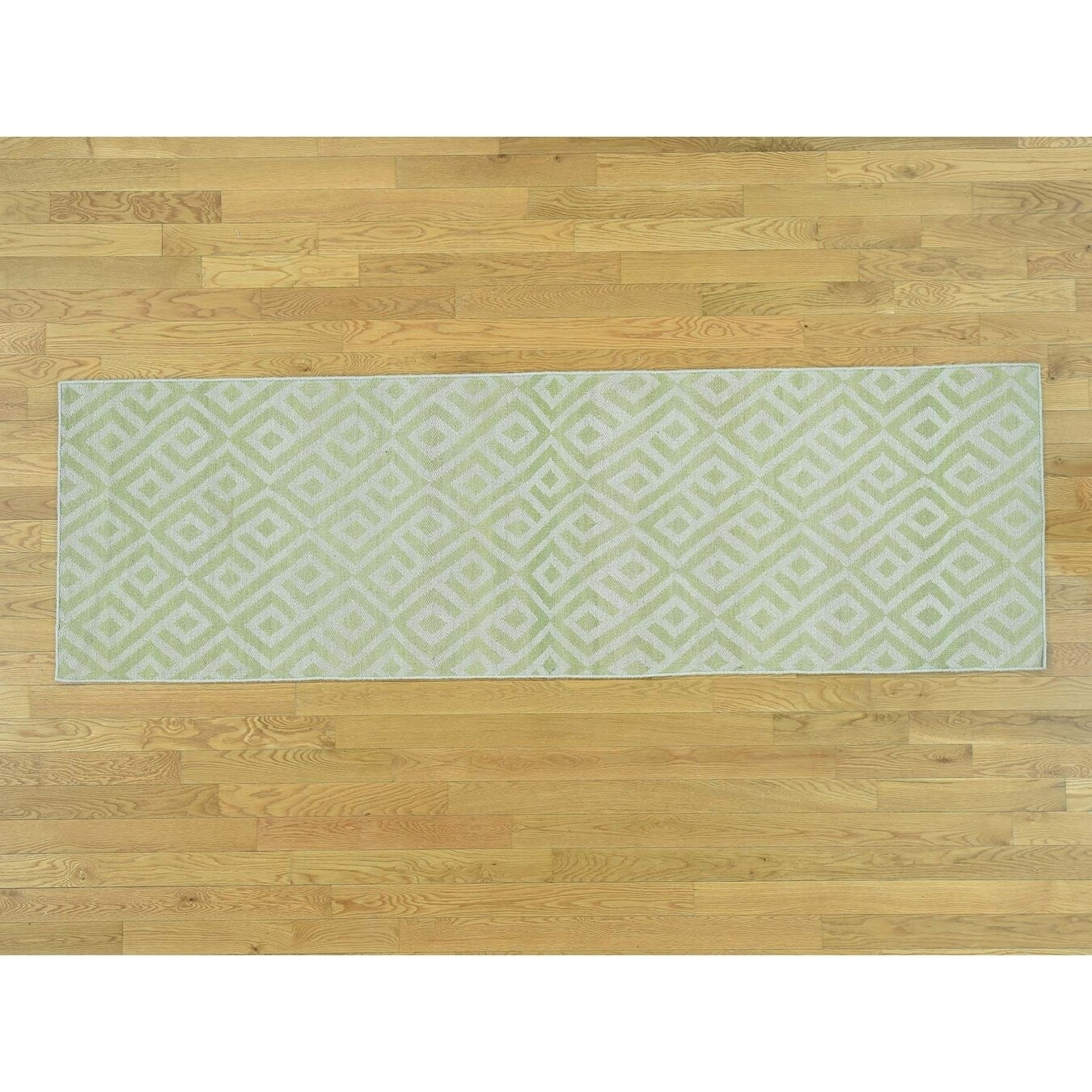 Hand Knotted Green Flat Weave with Wool Oriental Rug - 26 x 81