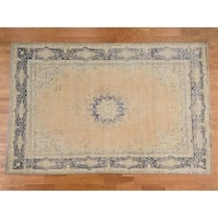 Hand Knotted Beige White Wash Vintage & Silver Wash with Wool Oriental Rug - 8'10 x 13'4