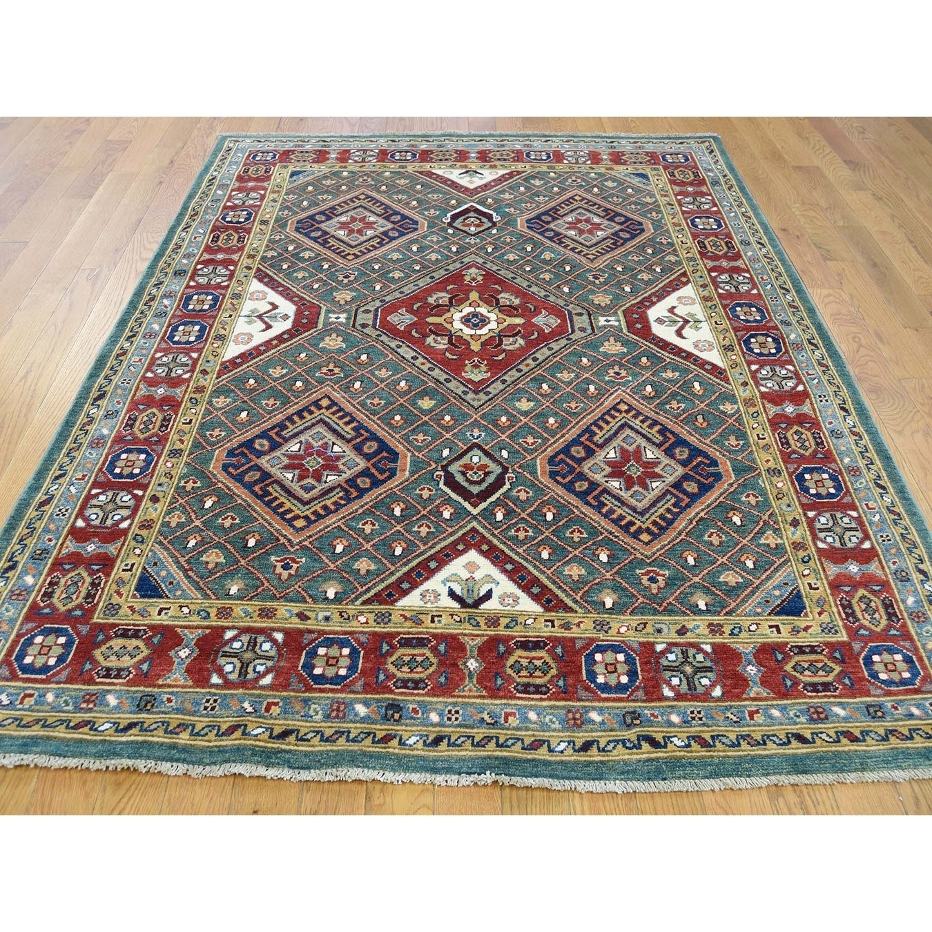 Hand Knotted Teal Kazak with Wool Oriental Rug - 5 x 66