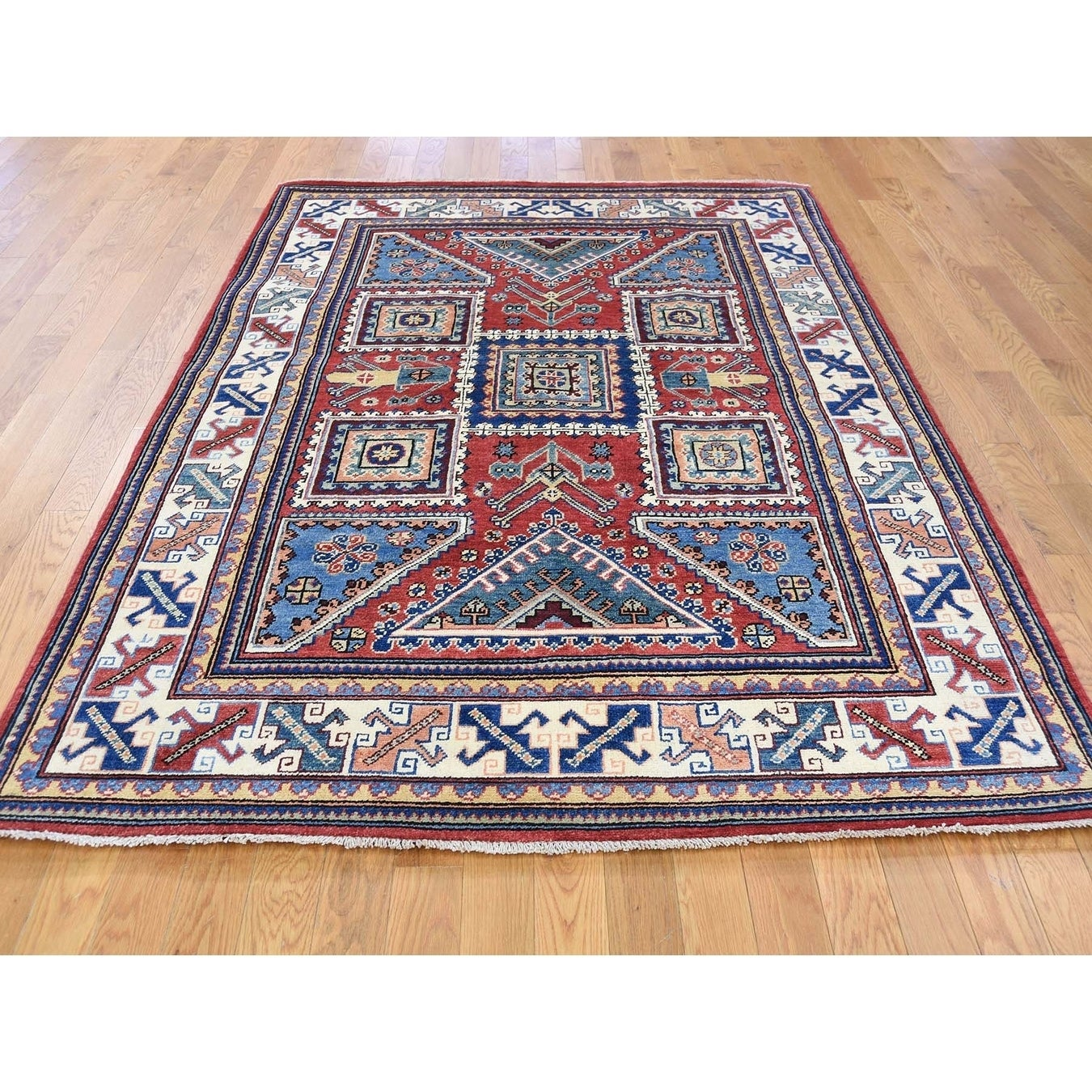 Hand Knotted Red Kazak with Wool Oriental Rug - 5 x 65