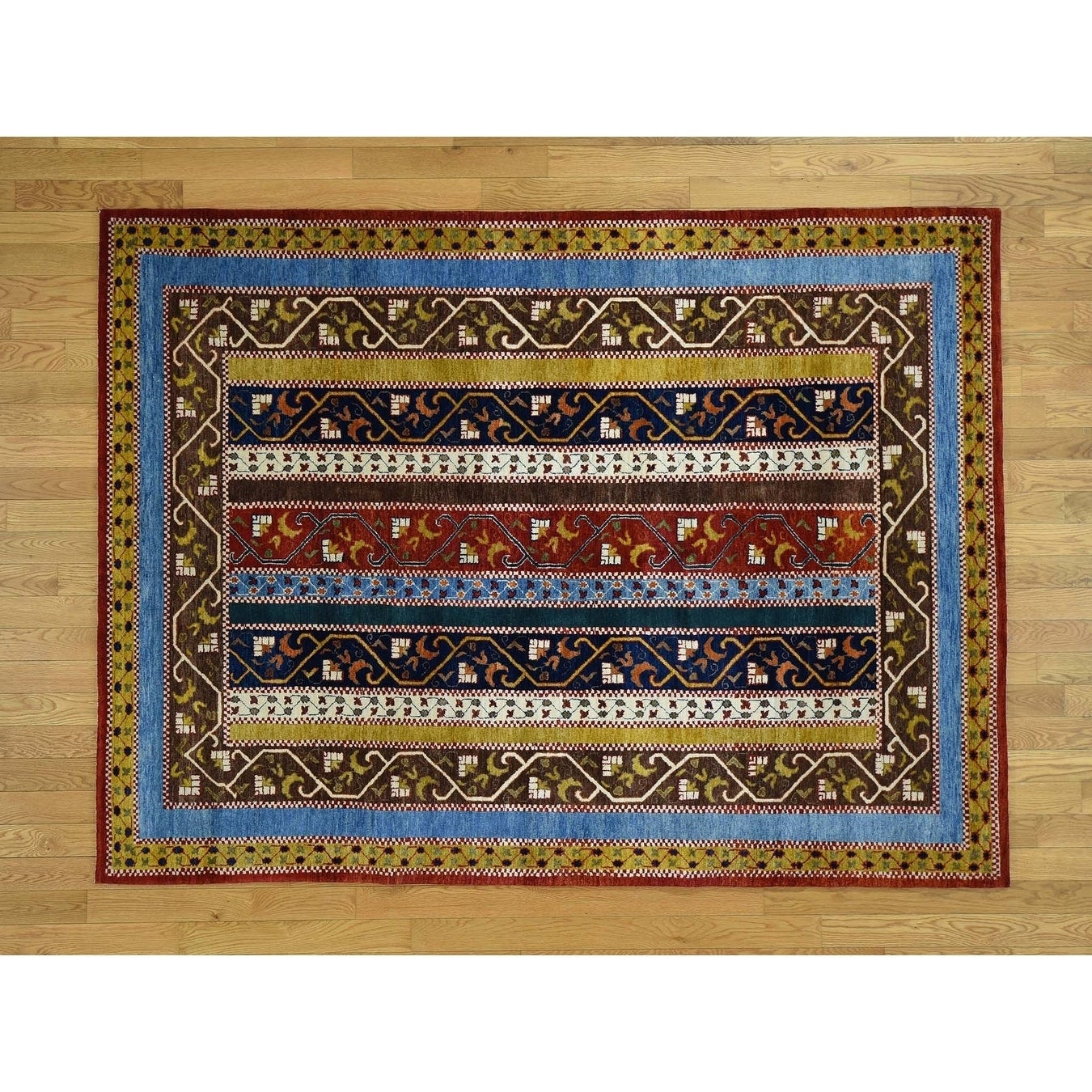 Hand Knotted Multicolored Tribal & Geometric with Wool Oriental Rug - 58 x 78