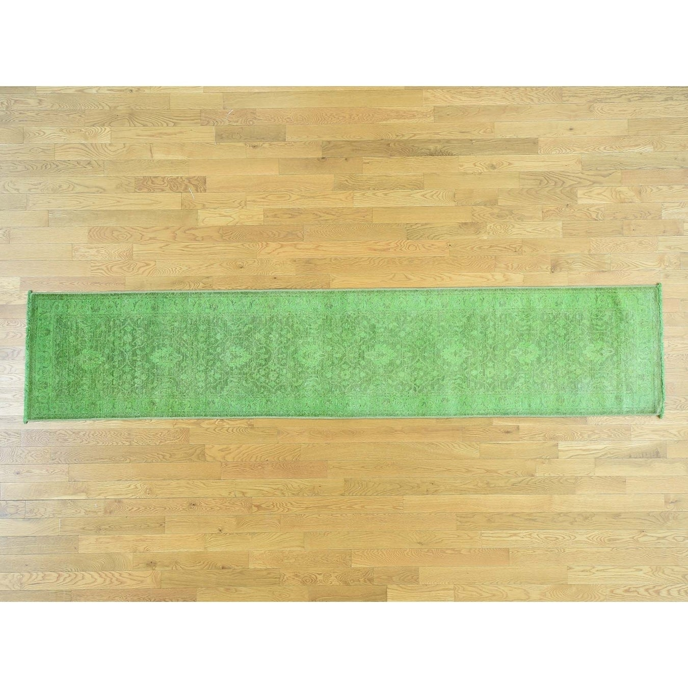 Hand Knotted Green Overdyed & Vintage with Wool Oriental Rug