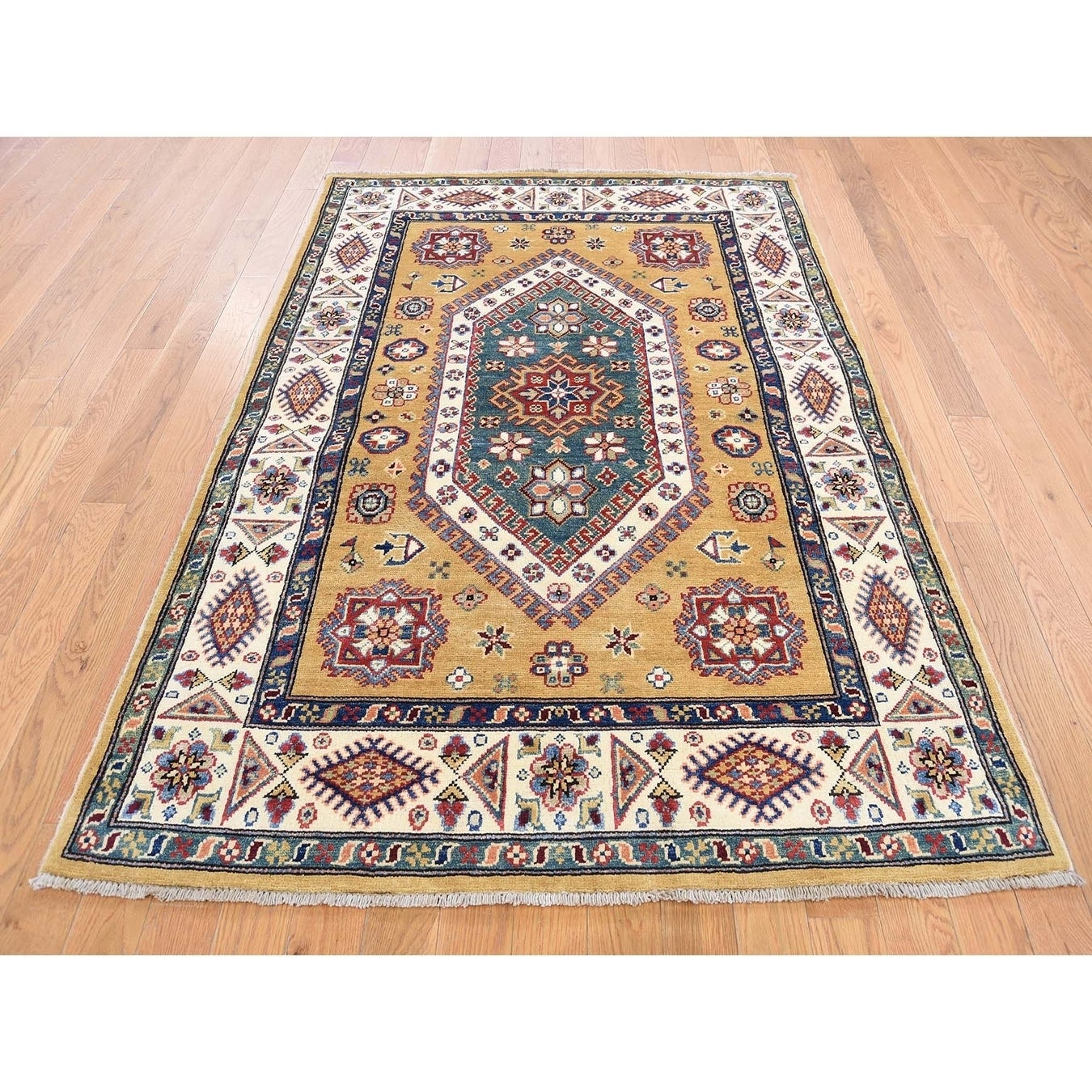 Hand Knotted Yellow Kazak with Wool Oriental Rug - 4 x 57