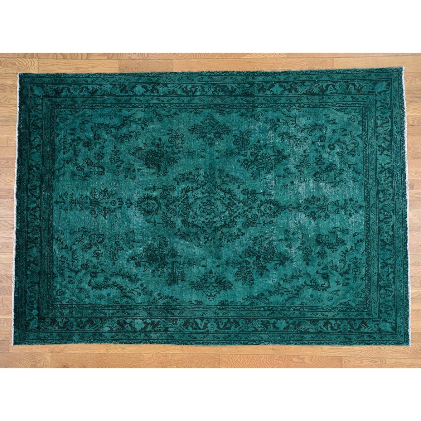 Hand Knotted Teal Overdyed & Vintage with Wool Oriental Rug - 7 x 910