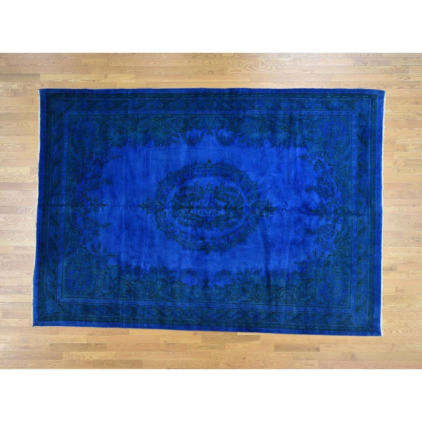 Hand Knotted Blue Clearance with Wool Oriental Rug - 85 x 12