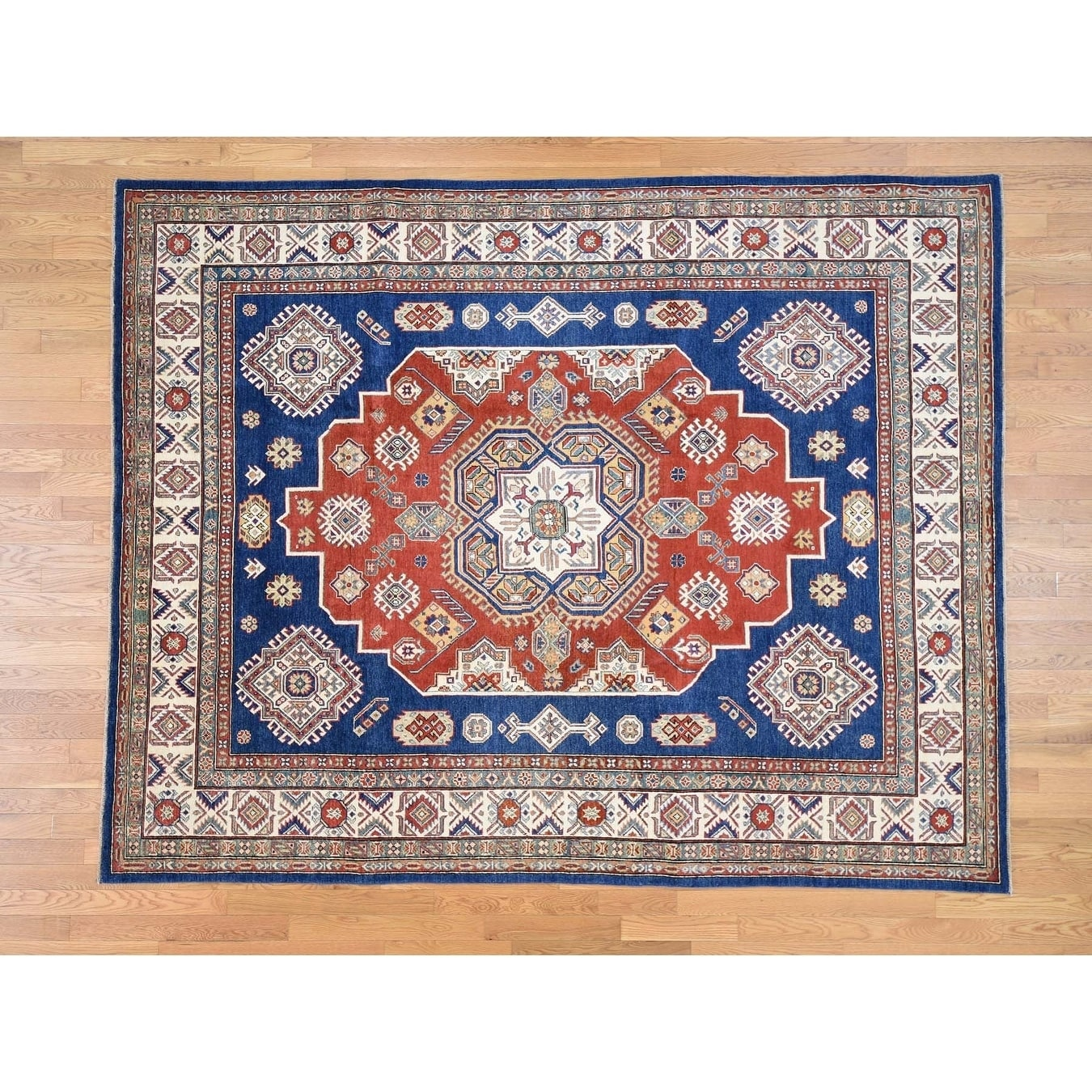 Hand Knotted Blue Kazak with Wool Oriental Rug - 81 x 101