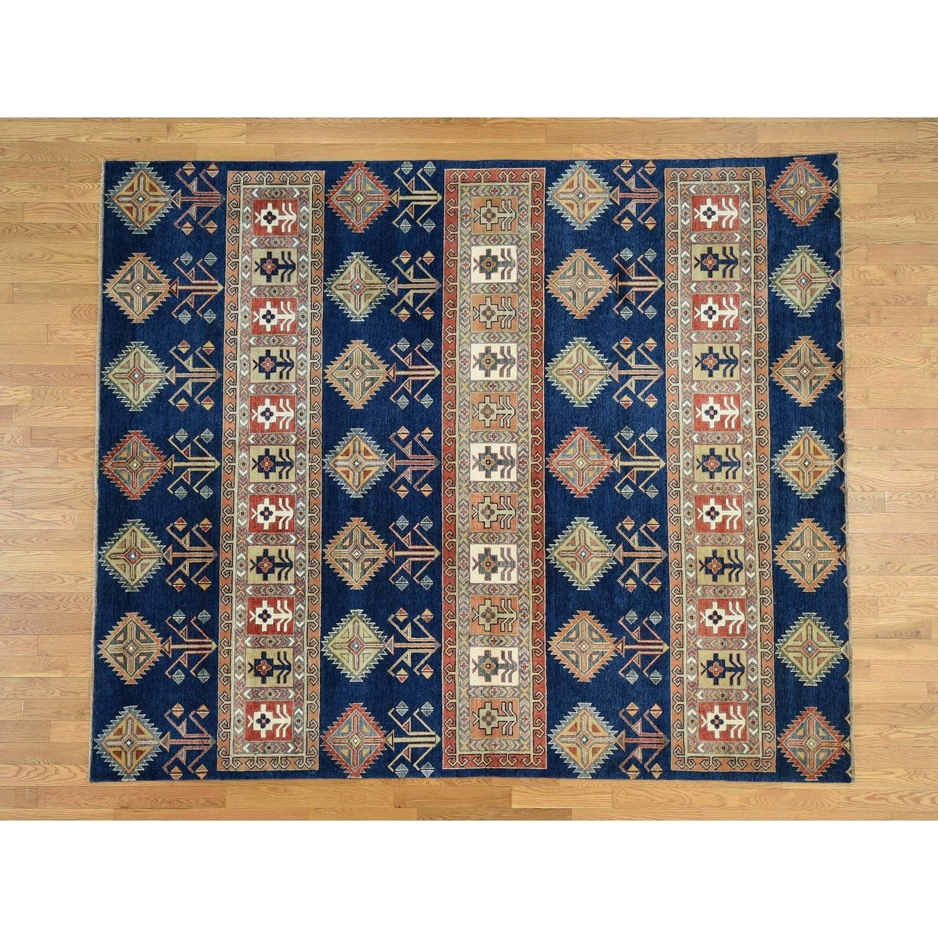Hand Knotted Blue Kazak with Wool Oriental Rug - 83 x 99