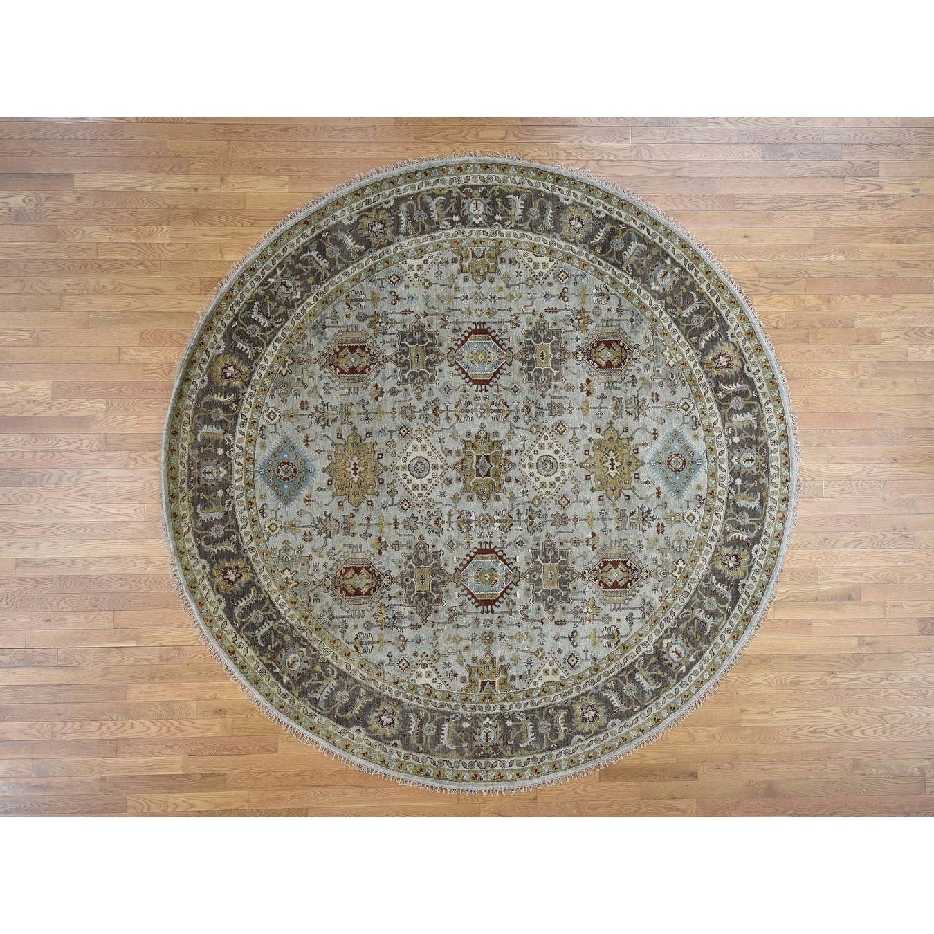 Hand Knotted Grey Heriz with Wool Oriental Rug - 910 x 10