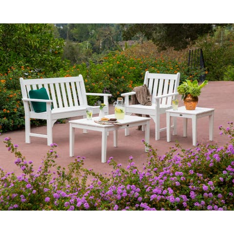 POLYWOOD Vineyard 4-Piece Outdoor Bench, Chair, and Table Set
