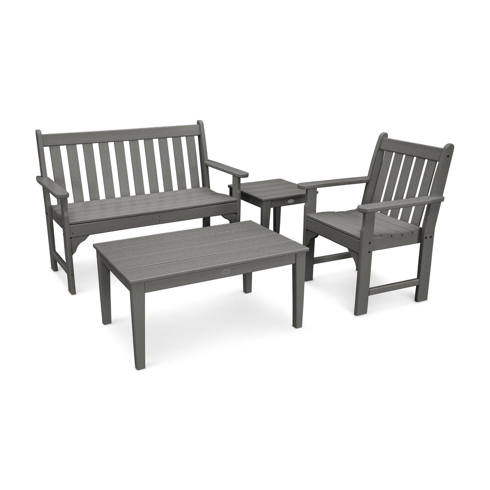 Magnificent Polywood Vineyard 4 Piece Outdoor Bench Chair And Table Set Frankydiablos Diy Chair Ideas Frankydiabloscom