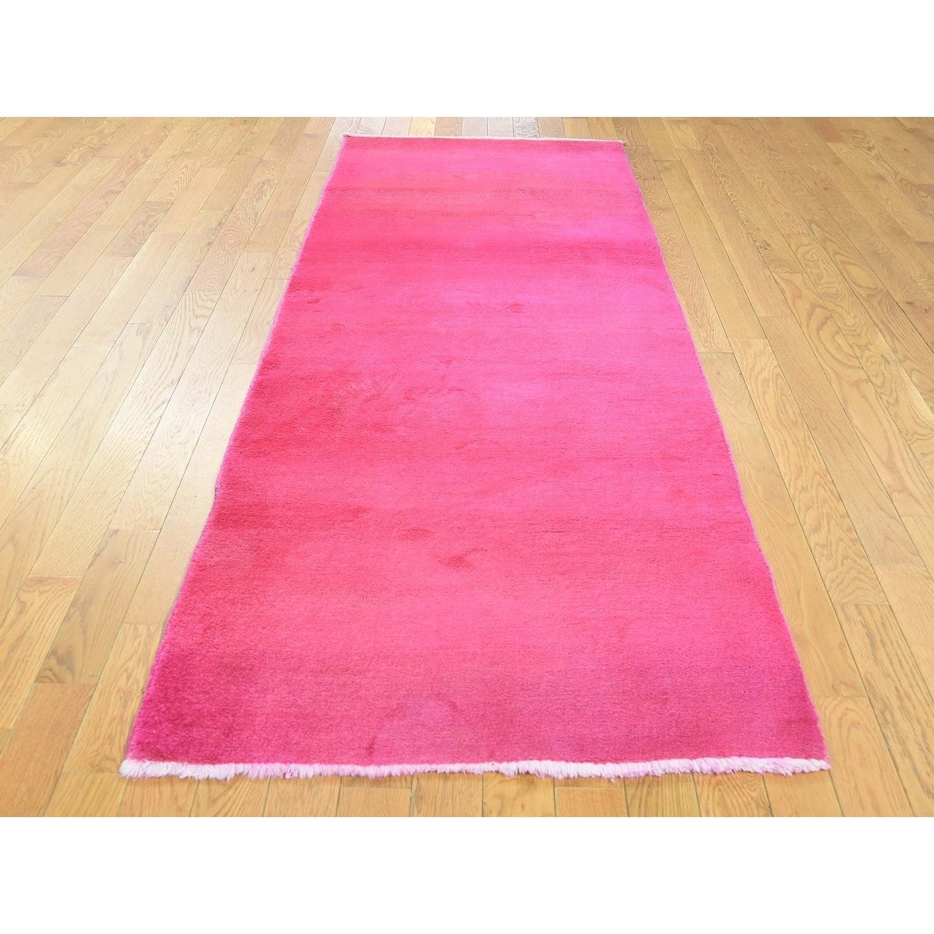 Hand Knotted Pink Overdyed & Vintage with Wool Oriental Rug - 210 x 82