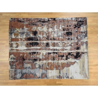 Hand Knotted Multicolored Modern & Contemporary with Wool & Silk Oriental Rug - 8' x 10'1