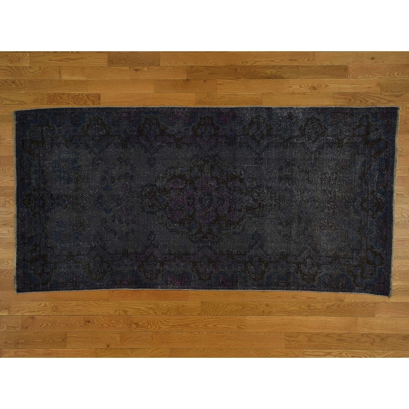 Hand Knotted Blue Overdyed & Vintage with Wool Oriental Rug - 410 x 910