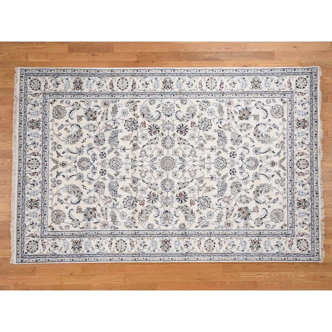 Hand Knotted Ivory Fine Oriental with Wool & Silk Oriental Rug - 6 x 94