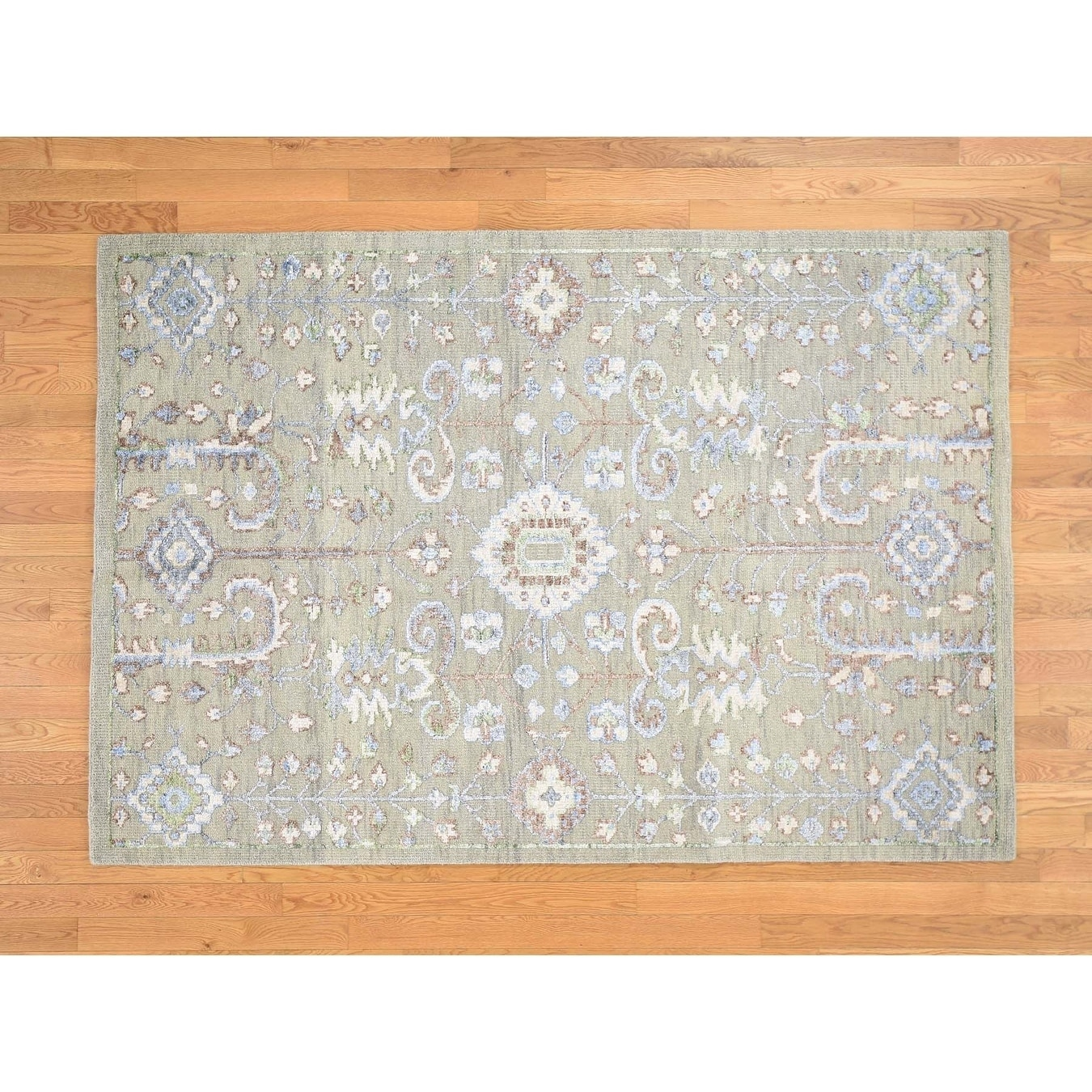 Hand Knotted Grey Oushak And Peshawar with Wool & Silk Oriental Rug - 53 x 78