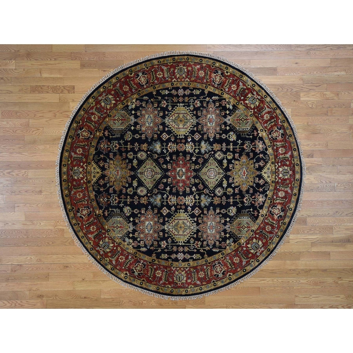 Hand Knotted Black Heriz with Wool Oriental Rug - 710 x 710