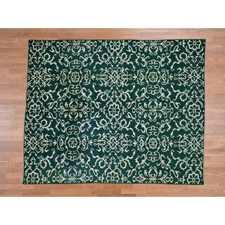 Hand Knotted Green Clearance with Wool & Silk Oriental Rug - 7'7 x 9'4