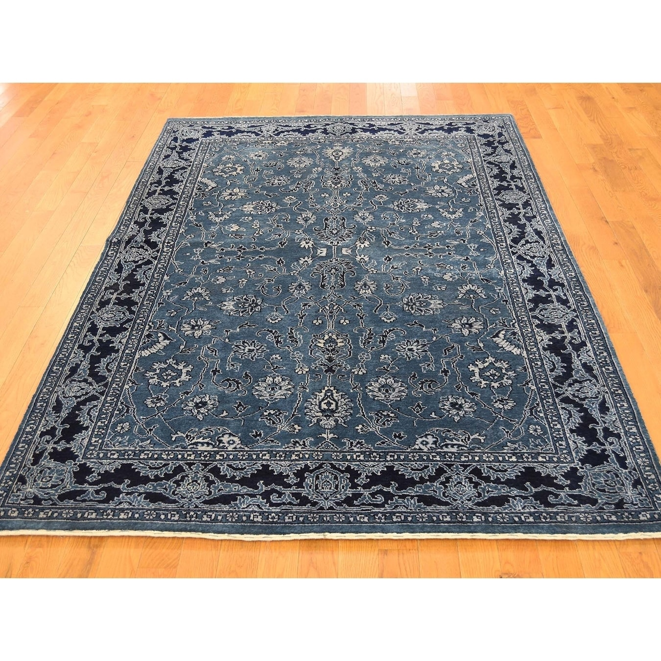 Hand Knotted Blue Fine Oriental with Wool & Silk Oriental Rug - 5 x 74