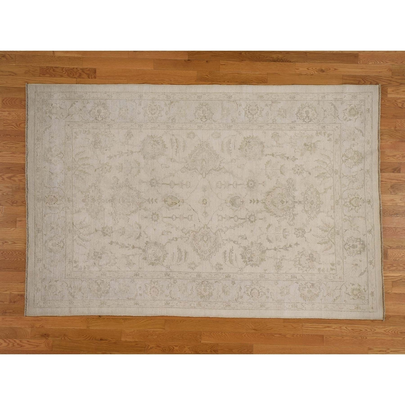 Hand Knotted Ivory White Wash Vintage & Silver Wash with Wool Oriental Rug - 59 x 89