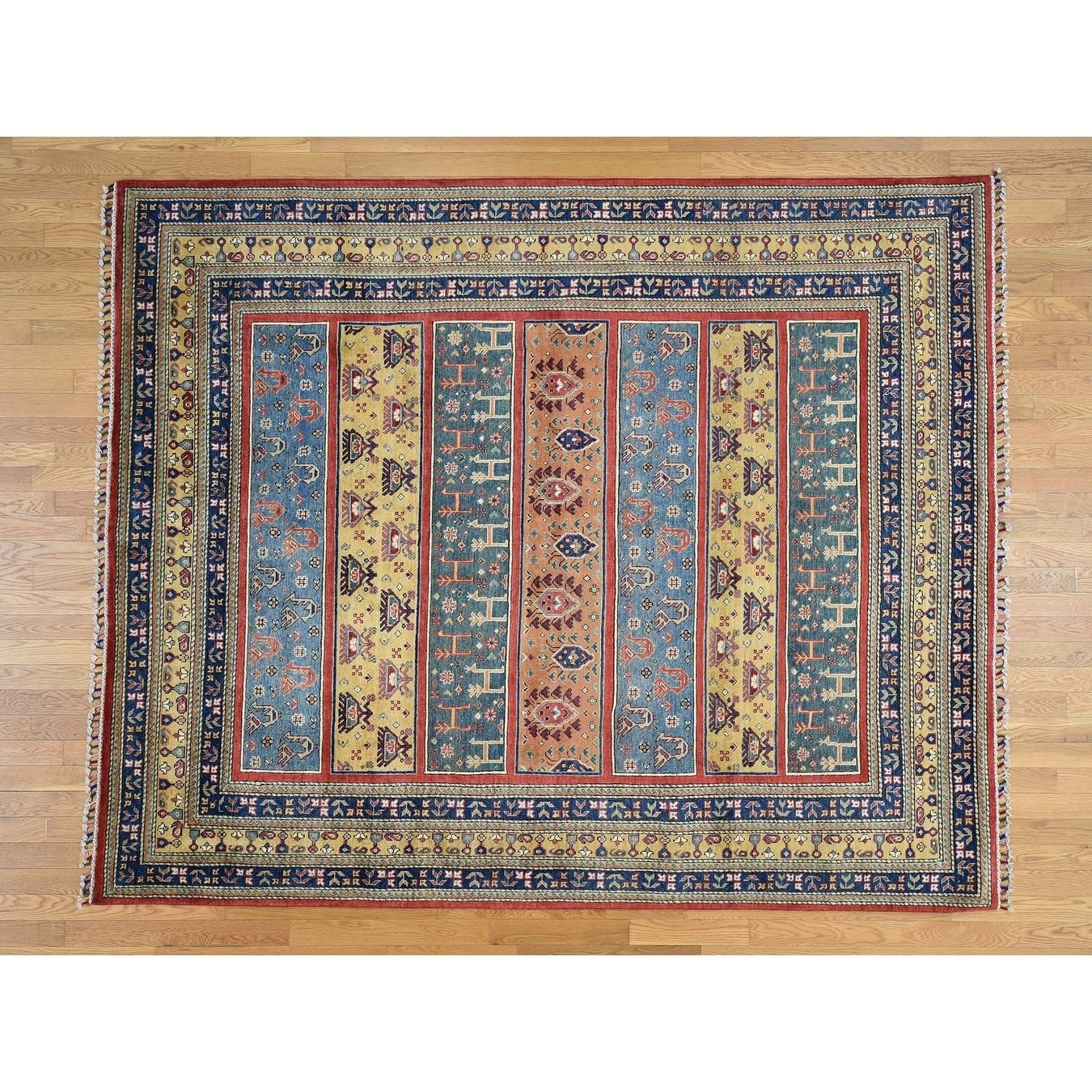 Hand Knotted Multicolored Kazak with Wool Oriental Rug - 81 x 99