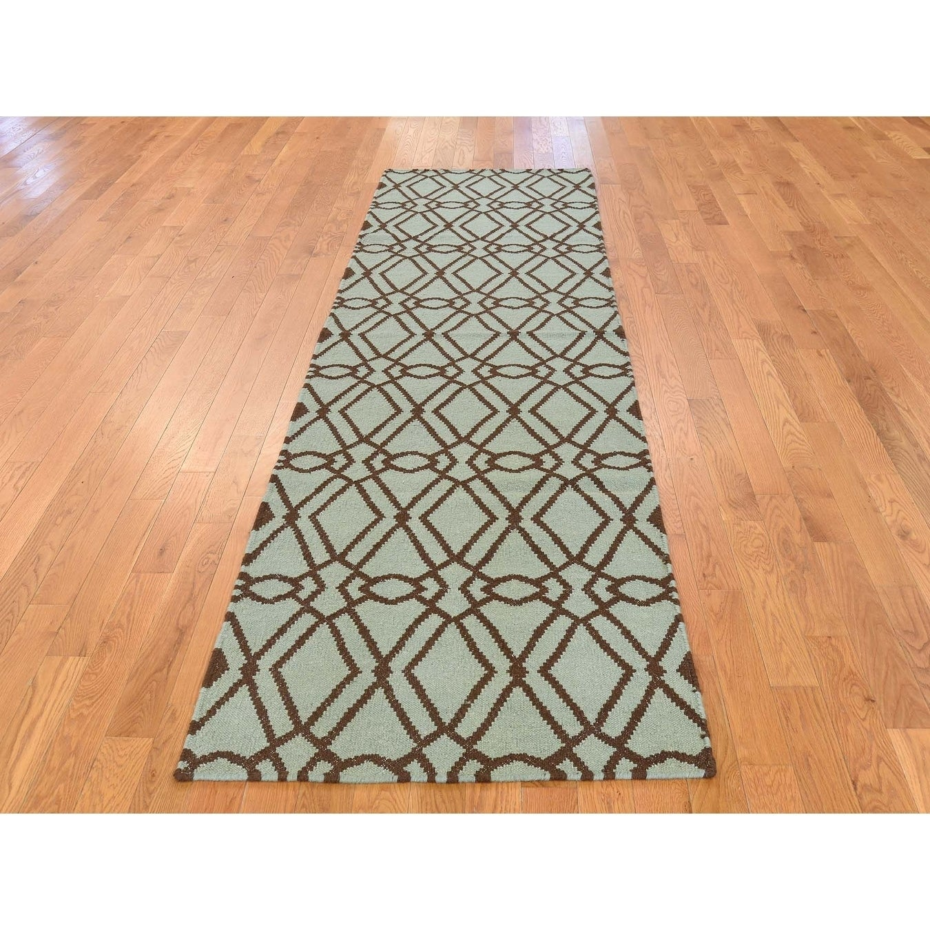 Hand Knotted Green Flat Weave with Wool Oriental Rug - 29 x 6