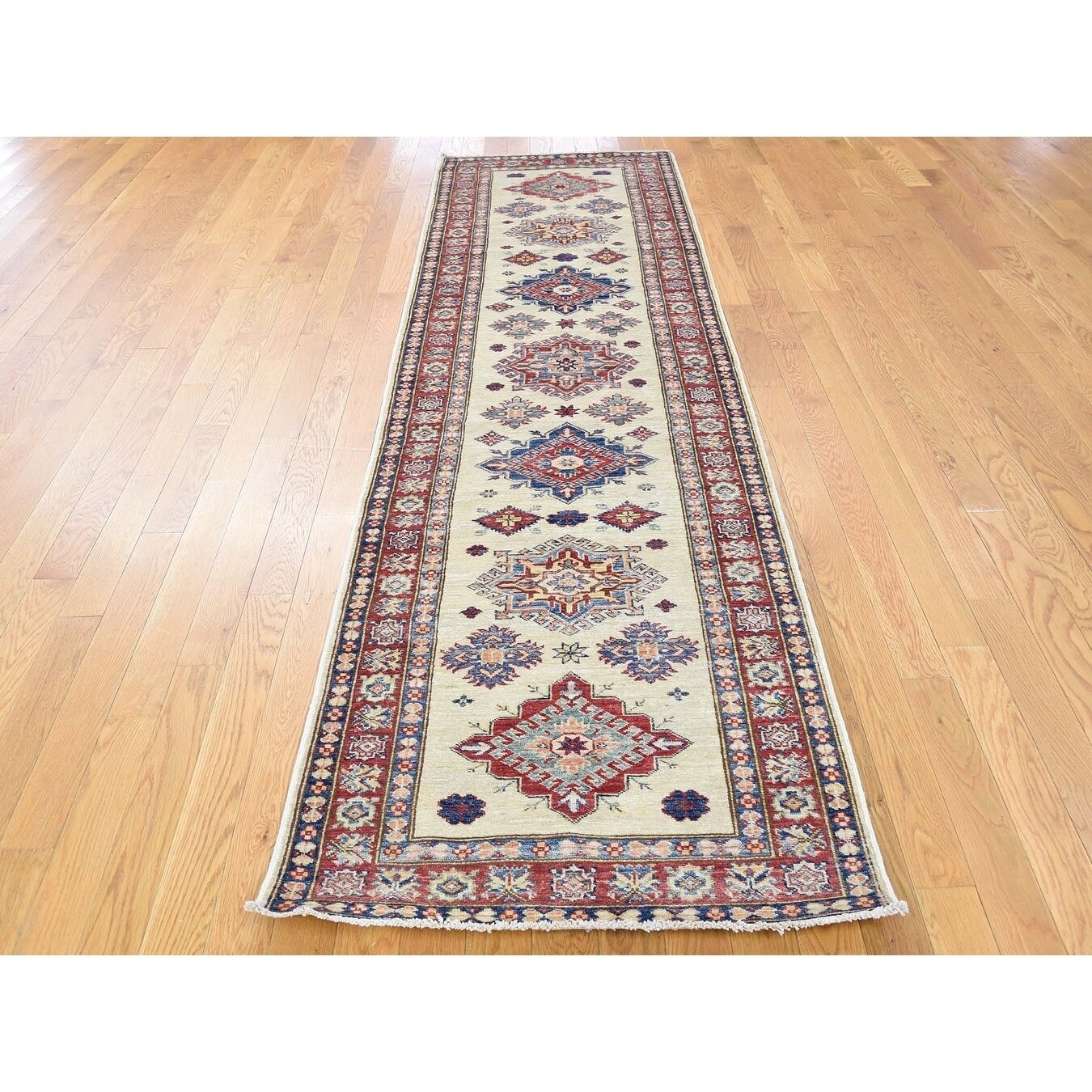 Hand Knotted Ivory Kazak with Wool Oriental Rug - 28 x 99
