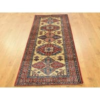 Hand Knotted Ivory Kazak with Wool Oriental Rug - 2'4 x 6'8