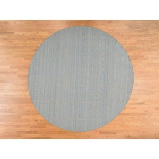Hand Knotted Grey Flat Weave with Wool Oriental Rug - 10' x 10'
